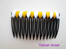 """""""White and gold"""" Black Hair Comb"""