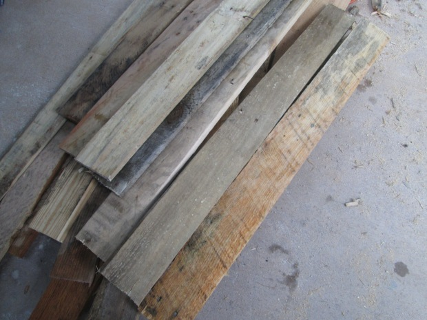 Planks of wood taken from skids