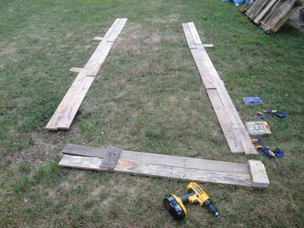 Raised Beds Planks of wood D.I.Y Skids
