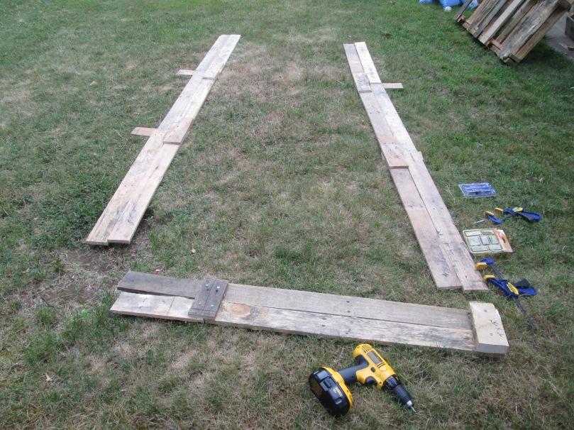 Raised Beds Planks of wood D.I.Y Skids